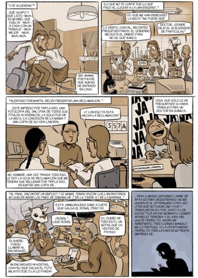 Pagina 35 del cómic CHORIZOS, Atraco a la española donde se habla de la fuga de cerebros en España