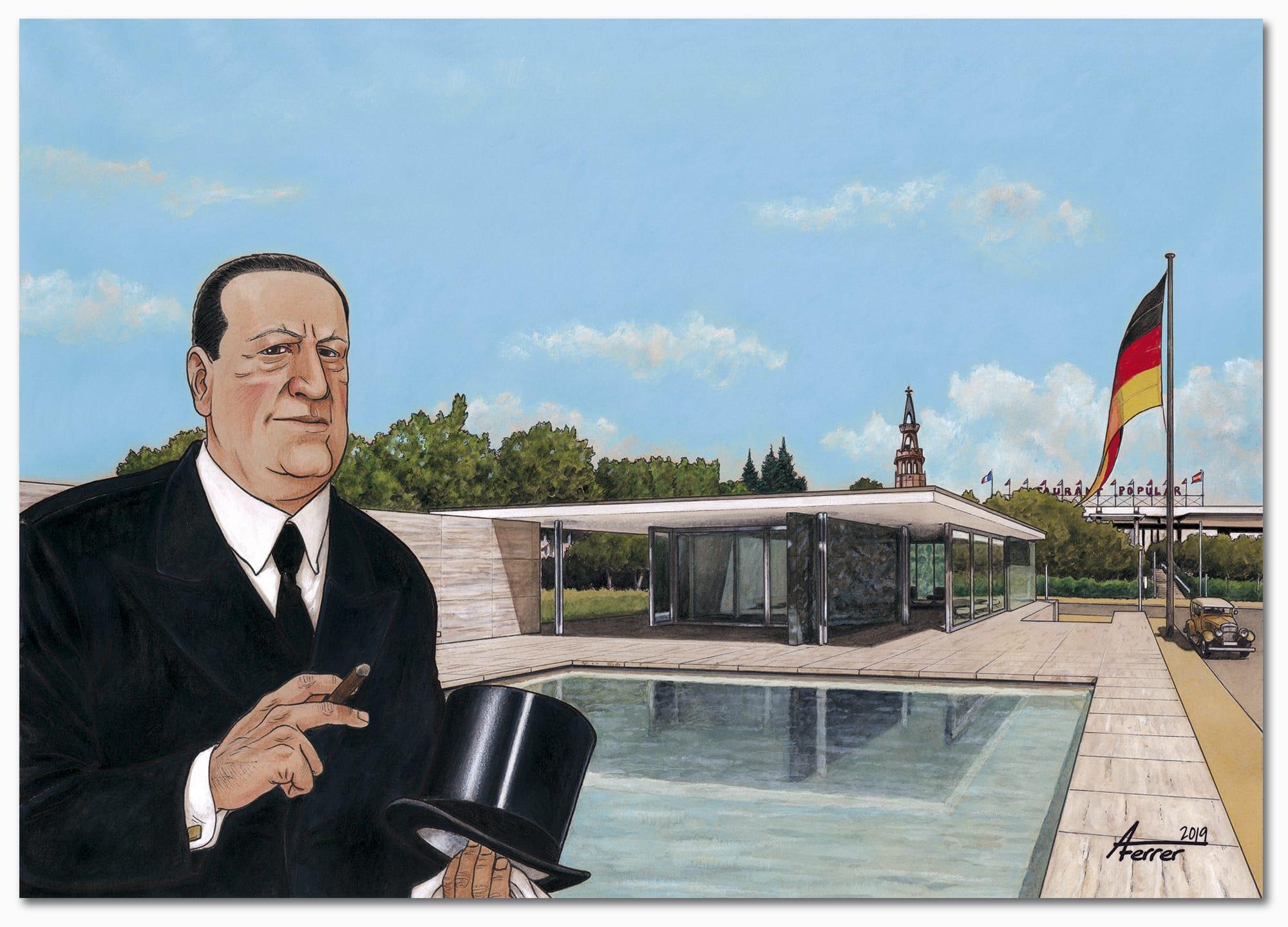 Mies van der Rohe en el Pabellón de Alemania, en la Exposición Universal de Barcelona de 1929