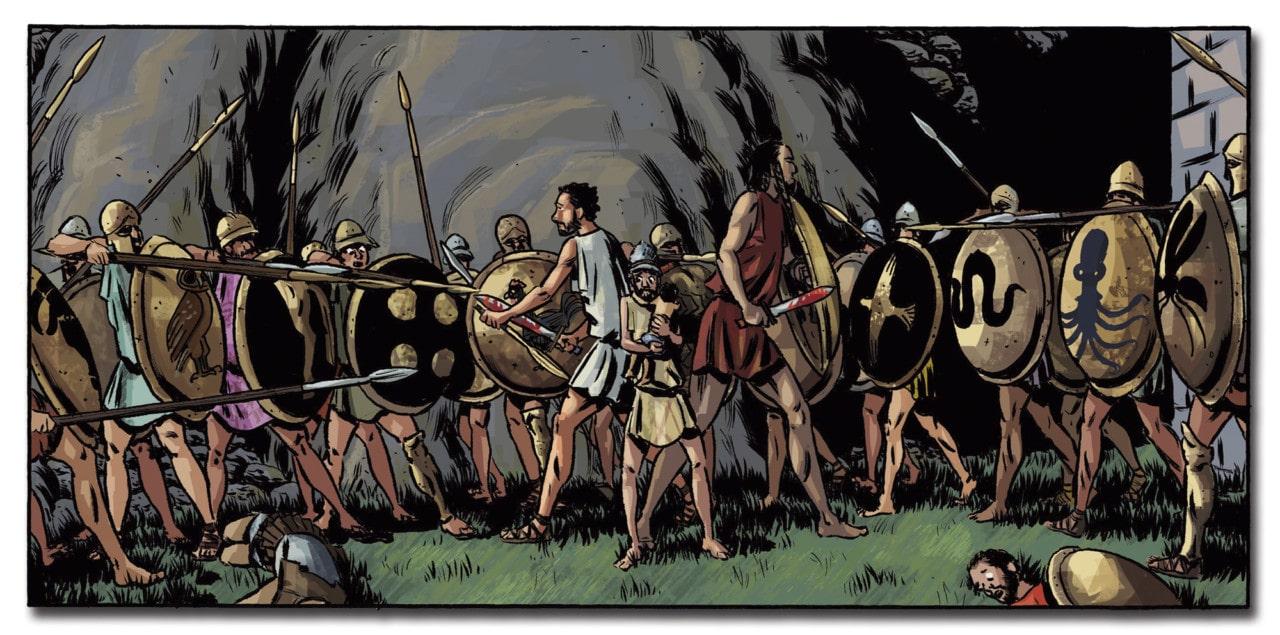 Por un puñado de dracmas es un comic en el que no pueden faltar batallas en la grecia clásica