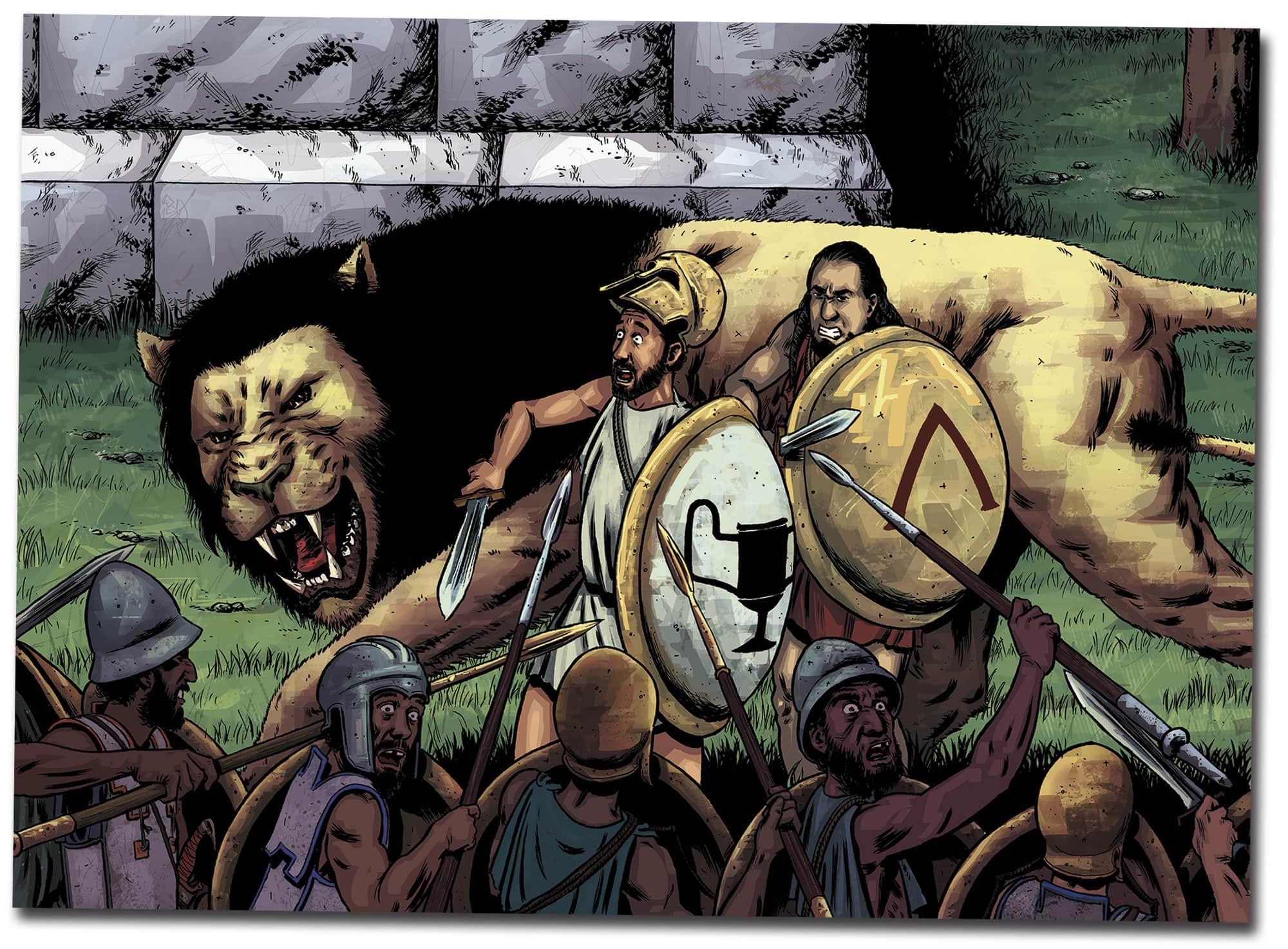 Batallas, leones, griegos y espartanos. Hay de todo en POR UN PUÑADO DE DRACMAS