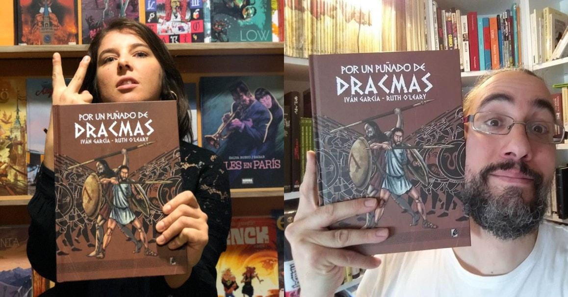 Iván García y Ruth O'Learu autores del cómic POR UN PUÑADO DE DRACMAS de Grafito Editorial
