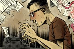 Javier Marquina escribiendo guiones de cómic a a máquina
