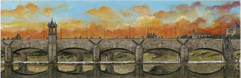 Acuarela de Valencia durante la Guerra Civil Española, Puente de Serranos