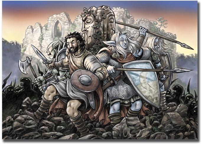 Gupo de aventureros de juego de rol dungeons & dragons