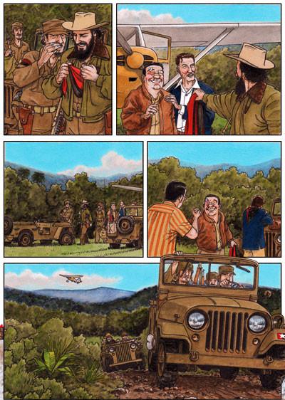 Arde Cuba, Un cómic de Agustín Ferrer. Errol Flynn y Frank Spellman llegan al campamento de Fidel Castro