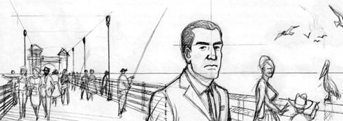 Boceto de ilustración de Agustín Ferrer Casas para su cómic CAZADOR DE SONRISAS