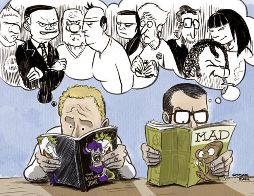 ilustración de los dibujantes de CHORIZOS, atraco a la Española