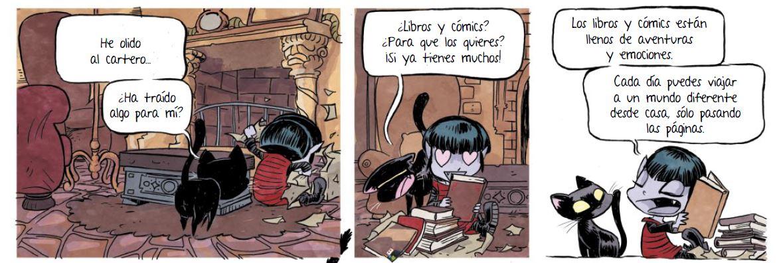 A Vampi le encantan los cómics y los libros