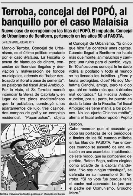 Noticia del periodico LA SINRAZON sobre Manolo Terroba
