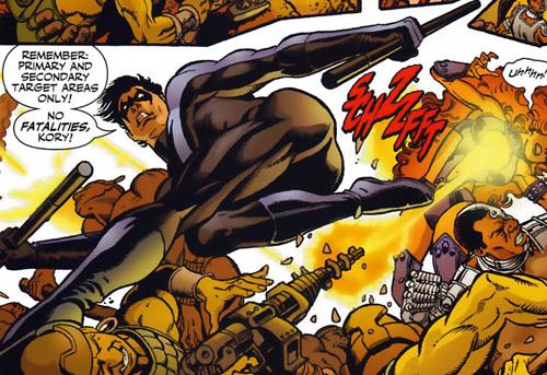 Nightwing, personaje de comic del sello DC, con el culo en pompa