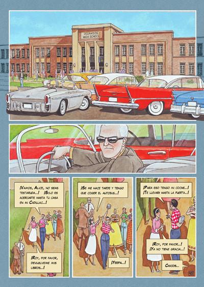 Pagina del cómic CAZADOR DE SONRISAS de Agustín Ferrer Casas. ¿A quien esía el Doctor Dunne?