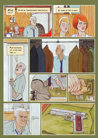 Pagina del cómic CAZADOR DE SONRISAS de Agustín Ferrer Casas. Un thriller lleno de asesinatos y drogas alucinógenas