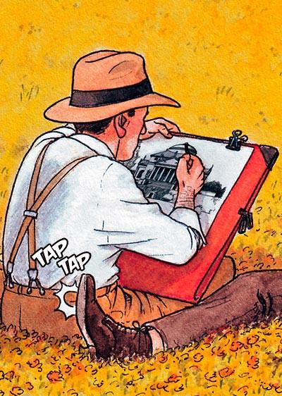Mies van der Rohe dibujando acuarelas en italia