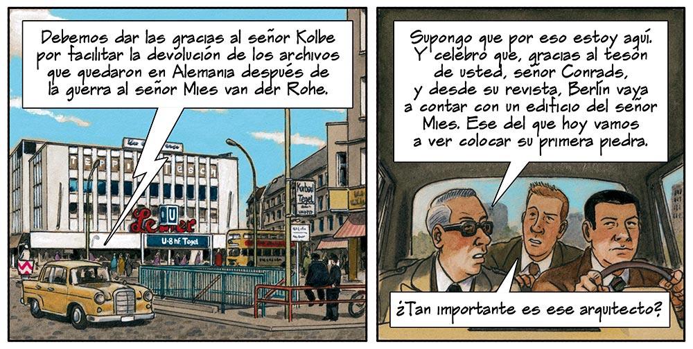Berlín durante la guerra fria. Estracto de Mies. Cómic sobre Mies van der Rohe dibujado por Agustín Ferrer Casas