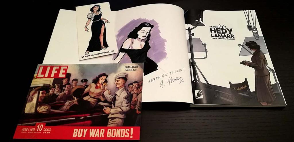 regalos gratis incluidos en el cómic OBJETIVO HEDY LAMARR de Grafito Editorial