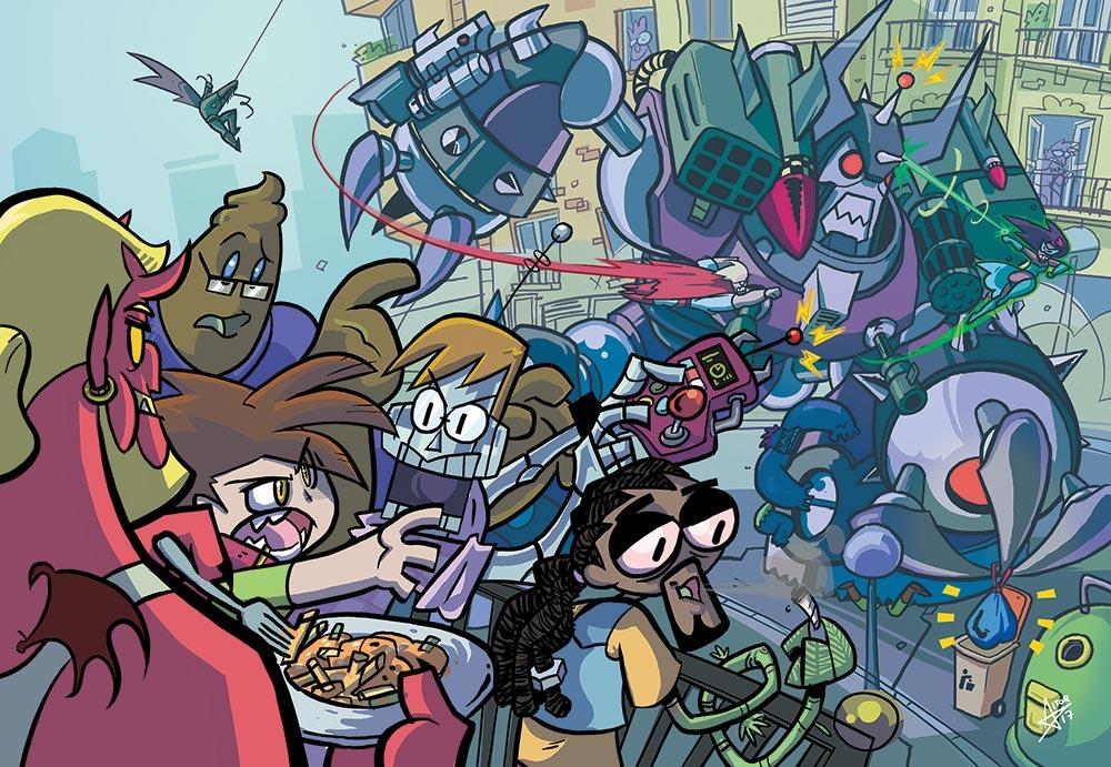 El Piso 3º vil es un cómic de aventuras con supervillanos criminales adolescentes compartiendo piso, y está siendo dibujado por Aitor Eraña y Delfina Palma